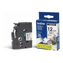 CINTA PARA ROTULADORA BROTHER TZE231 12MM NEGRO BLANCO
