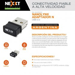Placa De Red Wireless Nexxt Nano Linx 150Mbps USB WiFi